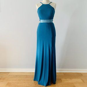 Morgan & Co Beaded Mesh Halter Gown Teal